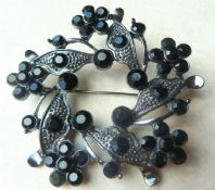 Large Black Floral Garland Wreath Style Brooch